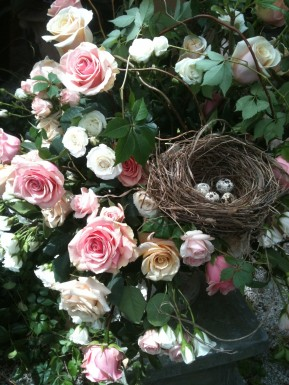 garden style design with bird nest