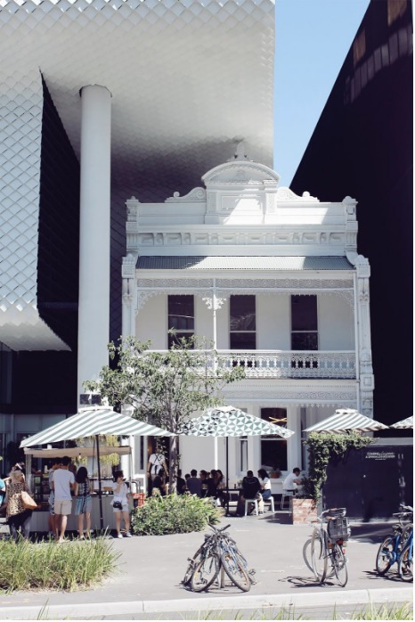 White Townhouse converted to Cafe in Melbourne