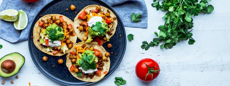 Vegan chickpea and lentil tacos